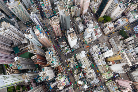 Yau Ma Tei, Hong Kong 09 May 2019: Top view of Hong Kong city Редакционное