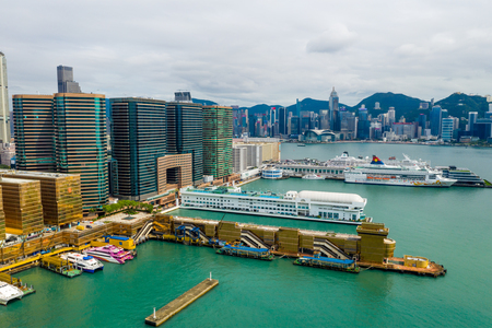 Tsim Sha Tsui, Hong Kong 09 May 2019: Top view of Hong Kong city Редакционное
