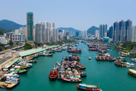 Aberdeen, Hong Kong 12 May 2019: Aerial view of Hong Kong typhoon shelter in aberdeen