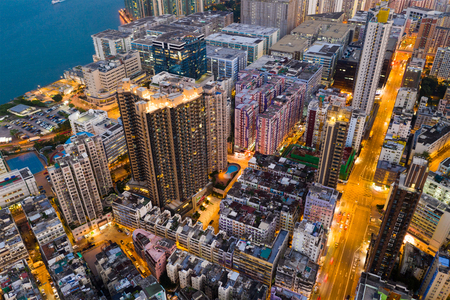 To kwa Wan, Hong Kong 10 May 2019: Top view of Hong Kong at night Редакционное