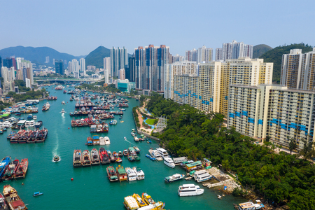 Aberdeen, Hong Kong 12 May 2019: Drone fly over Hong Kong fishing harbor port