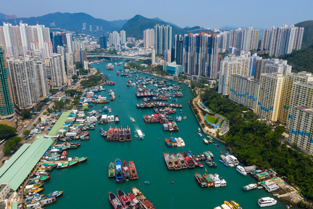 Aberdeen, Hong Kong 12 May 2019: Aerial view of Hong Kong fishing harbor port in Aberdeen Редакционное