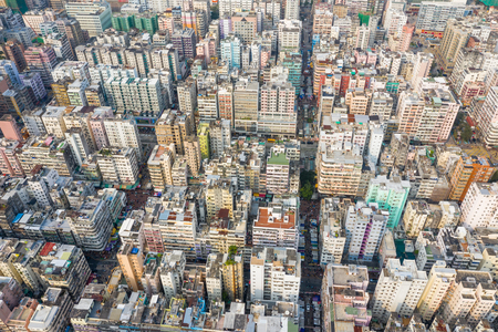Sham Shui Po, Hong Kong 18 March 2019: Top down view of Hong Kong city