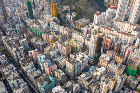 Sham Shui Po, Hong Kong 18 March 2019: Aerial view of Hong Kong urban city Редакционное