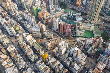 Sham Shui Po, Hong Kong, 19 March 2019: Top down view of Hong Kong city
