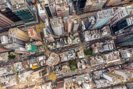 Mong Kok, Hong Kong 21 March 2019: Hong Kong city from top Редакционное