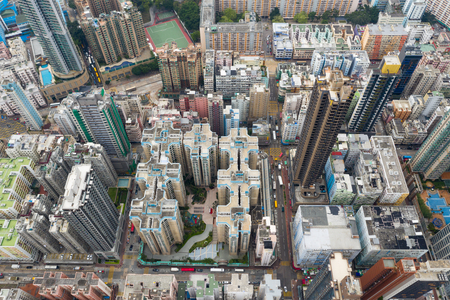 To Kwa Wan, Hong Kong 03 April 2019: Top view of Hong Kong city Редакционное