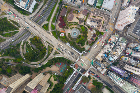 Wong Tai Sin, Hong Kong 11 April 2019: Aerial view of Hong Kong city