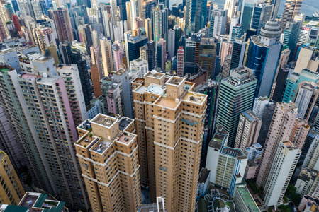 Central, Hong Kong 29 April 2019: Top down view of Hong Kong city Редакционное