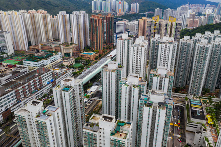Sha Tin, Hong Kong 05 May 2019: Top view of Hong kong city