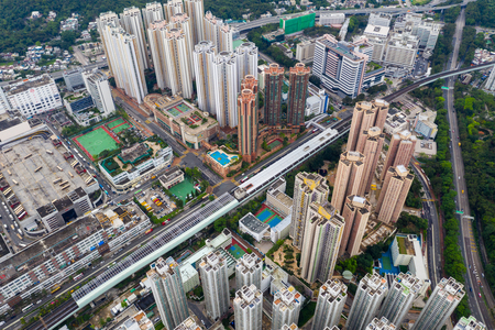 Sha Tin, Hong Kong 04 May 2019: Top view of Hong Kong apartment building