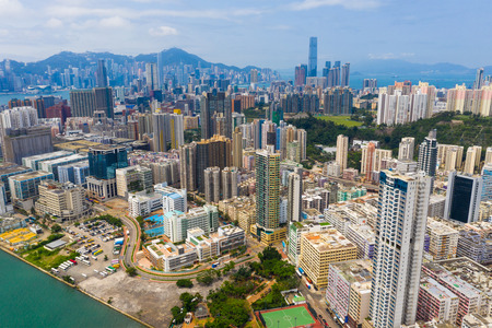 Hung Hom, Hong Kong 12 May 2019: panoramic shot for the city in Hong Kong