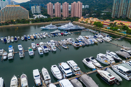 Tuen Mun, Hong Kong 17 May 2019: Top view of Castle Peak Bay in Tuen Mun Редакционное