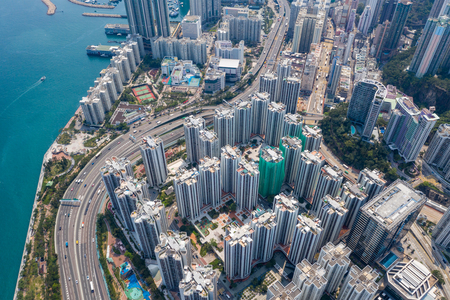 Quarry bay, Hong Kong 19 March 2019: Drone fly over Hong Kong city