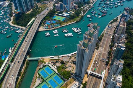 Aberdeen, Hong Kong 11 May 2019: Top view Hong Kong harbour port