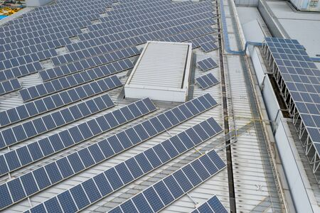 Solar power energy plant on roof top building