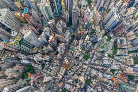 Top view of Hong Kong downtown city