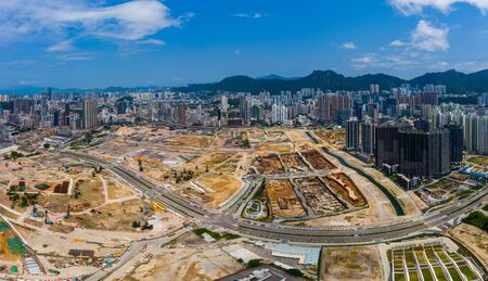 Top view of Hong Kong construction site 版權商用圖片