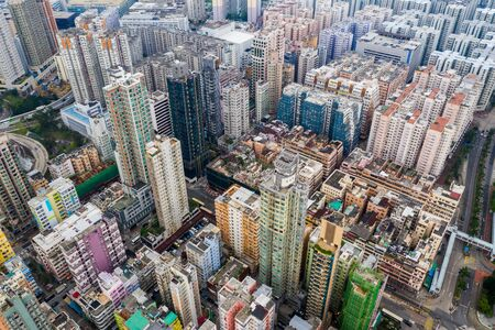 Top view of Hong Kong urban city 版權商用圖片