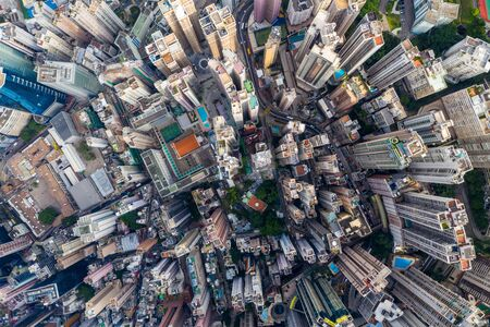 Top view of city of Hong Kong