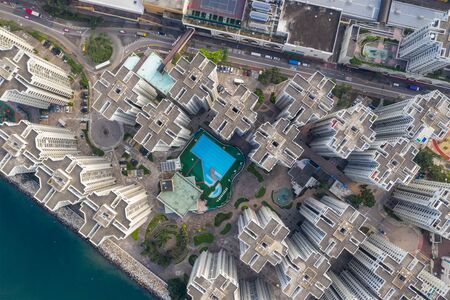 Top view of Hong Kong apartment building