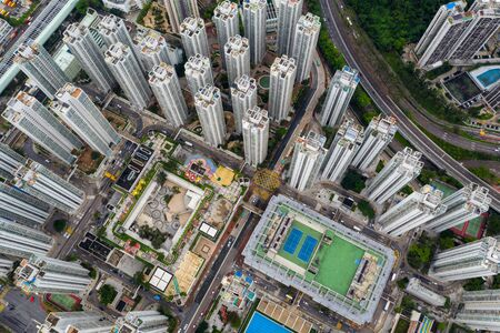 Aerial view of Hong Kong residential district