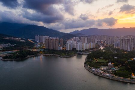 Top view of Hong Kong residential district at sunset time 版權商用圖片