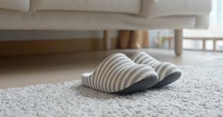 Grey slipper on carpet at home 版權商用圖片