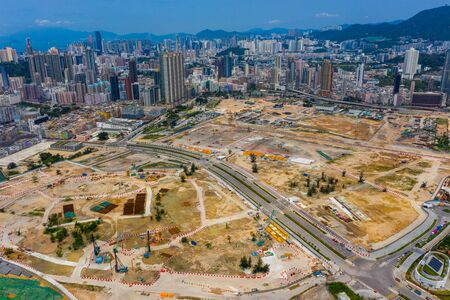 Aerial view of Hong Kong construction site