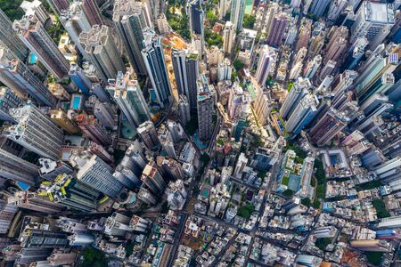 Aerial view of Hong Kong urban city