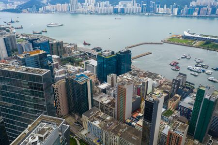 Aerial view of Hong Kong downtown city