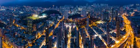 Top view of Hong Kong city downtown at night