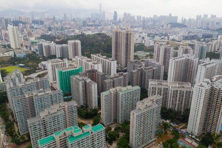 Top view of Hong Kong urban city Stok Fotoğraf