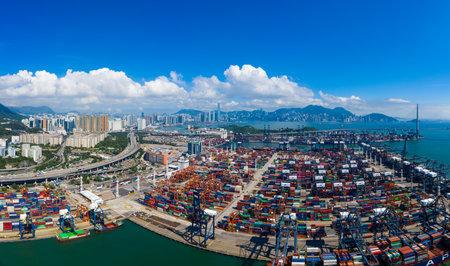Kwai Chung, Hong Kong 15 May 2019:  Kwai Chung Cargo Terminal in Hong Kong