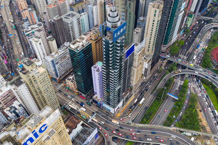 Causeway Bay, Hong Kong 07 May 2019: Drone fly over Hong Kong commercial district 新聞圖片