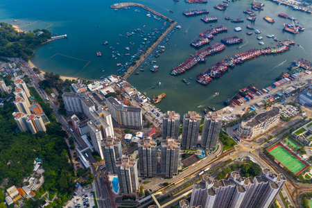Tuen Mun, Hong Kong 16 May 2019: top view of castle peak typhoon shelter in Hong Kong