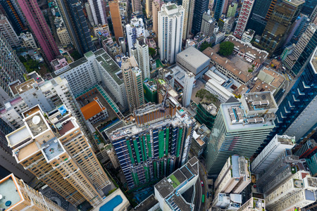 Central, Hong Kong 29 April 2019: Top view of Hong Kong downtown city 新聞圖片