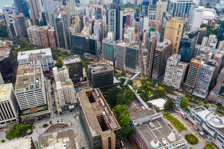 Tsim Sha Tsui East, Hong Kong 21 April 2019: Top view of Hong Kong building in city