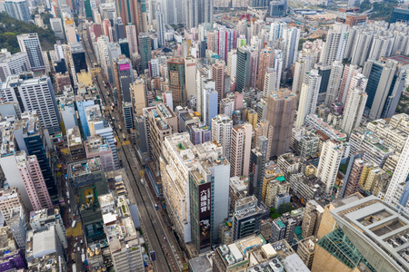 Mong Kok, Hong Kong 21 March 2019: Top down view of Hong Kong city 新聞圖片