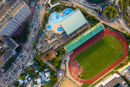 Choi Hung, Hong Kong 25 April 2019: Top view sport stadium