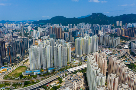 Kowloon Bay, Hong Kong 12 May 2019: Aerial view Hong Kong city