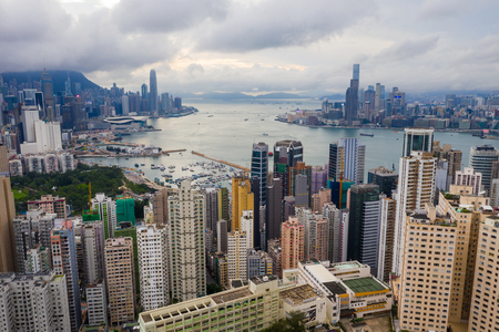 Hong Kong 01 June 2019: Top view of Hong Kong city 新聞圖片