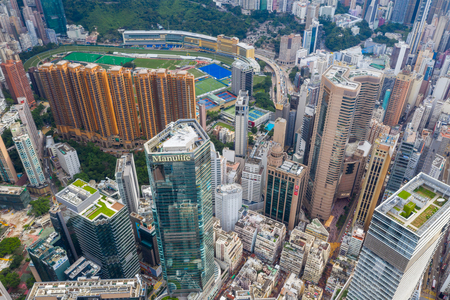 Causeway Bay, Hong Kong 01 June 2019: Top view of Hong Kong city