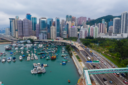 Causeway Bay, Hong Kong 07 May 2019: Top view of Hong Kong island district