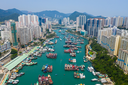 Aberdeen, Hong Kong 12 May 2019: Top down view of Hong Kong fishing harbor port in Aberdeen