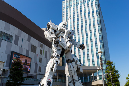 Tokyo, Japan 30 June 2019: Unicorn Gundam robot statue in odaiba