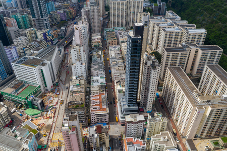 To Kwa Wan, Hong Kong 17 May 2019 : Aerial view of Hong Kong city
