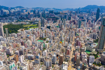 Sham Shui Po, Hong Kong 12 September 2019: Drone fly over Hong Kong downtown