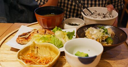 Japanese restaurant dinner meal with grilled fish and rice Stock fotó