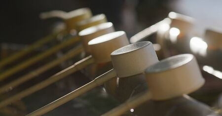 Japanese water purification, wash hand before enter the temple, bamboo ladle Stock fotó